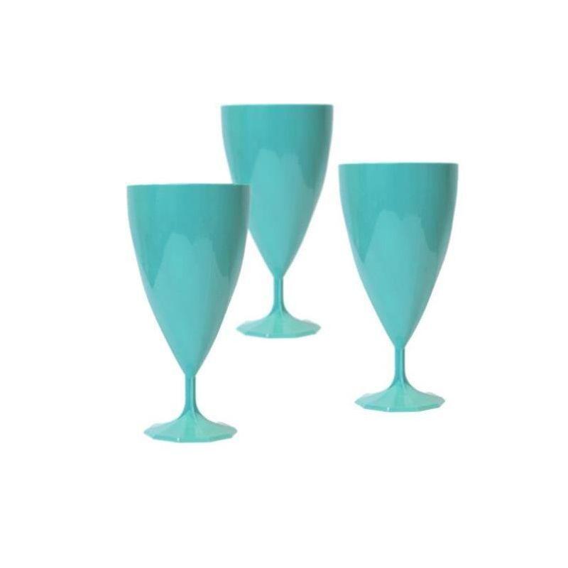 verre à vin plastique turquoise