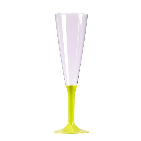 flûte à champagne plastique pied vert