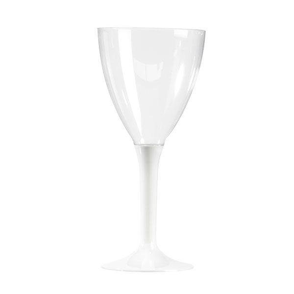 verre à vin plastique pied blanc