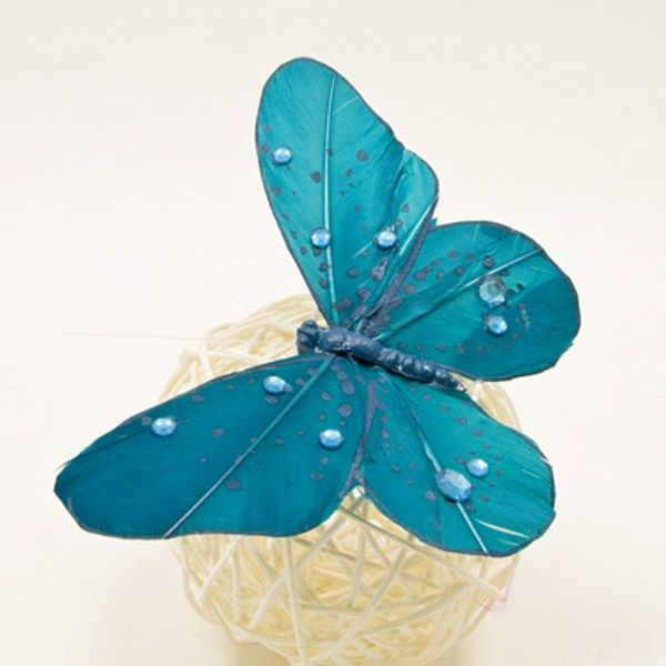 2 PAPILLONS SUR PINCE+STRASS - TURQUOISE