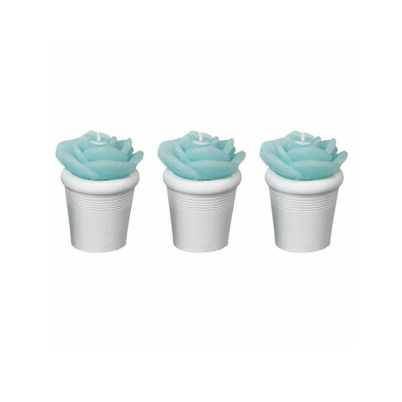 3 BOUGIES ROSE EN POT