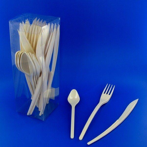 couverts en plastique ivoire