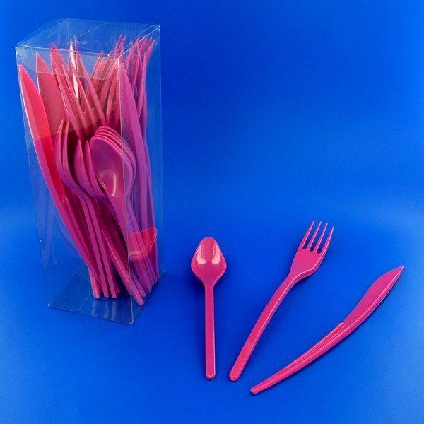 couverts plastique rose