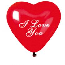 4 BALLONS COEUR I LOVE YOU ROUGE BIO 25