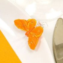 4 PAPILLONS SUR PINCE+STRASS - ORANGE