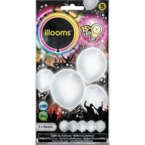 5 BALLONS À LED UNIS BLANCS