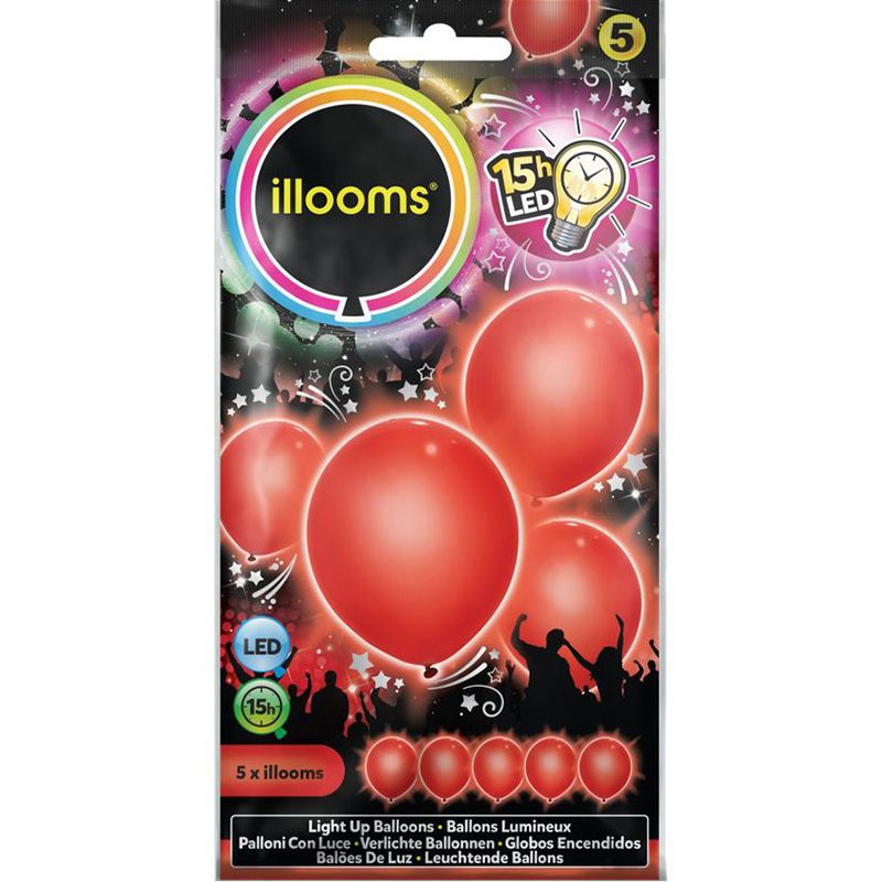 5 BALLONS À LED UNIS ROUGES