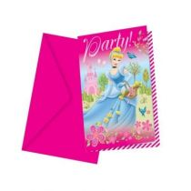 6 CARTES D'INVITATION + ENVELOPPES PRINCESS
