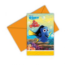 6 INVITATIONS + ENVELOPPES FINDING DORY