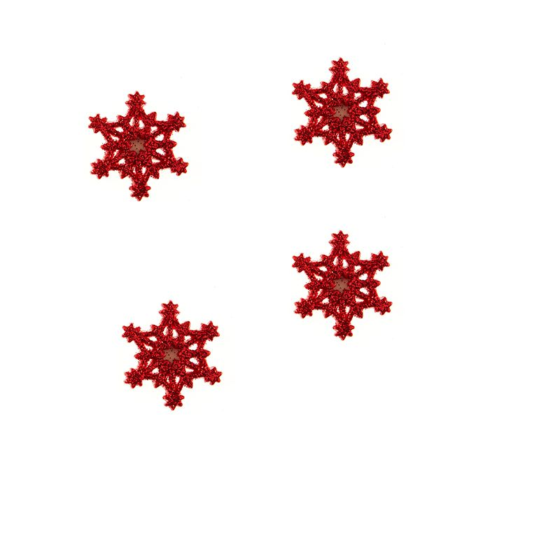 6 STICKERS FLOCONS ROUGE 3 CM