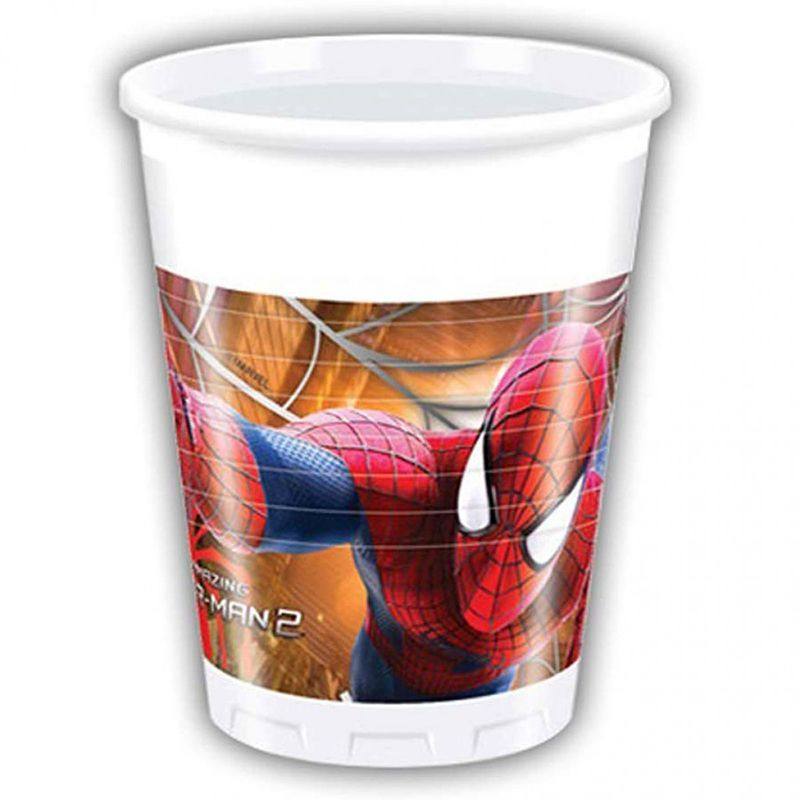 8 GOBELETS EN PLASTIQUE SPIDERMAN