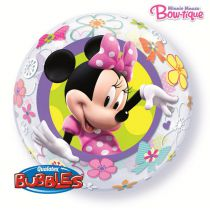 BALLON TYPE BUBBLE 56CM MINNIE + HELIUM