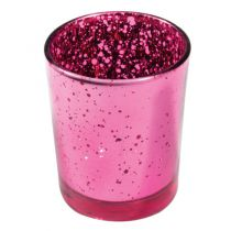 BOUGEOIR FUCHSIA METAL D 5,5CM H 6,7CM
