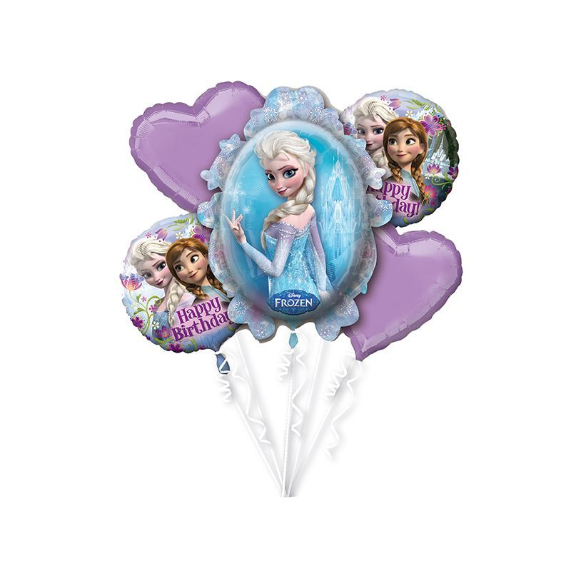 BOUQUET DE 5 BALLONS REINE DES NEIGES
