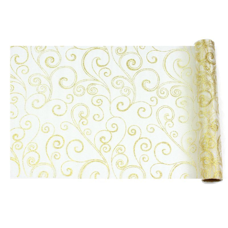 CHEMIN ARABESQUE ORGANZA - BLANC/OR