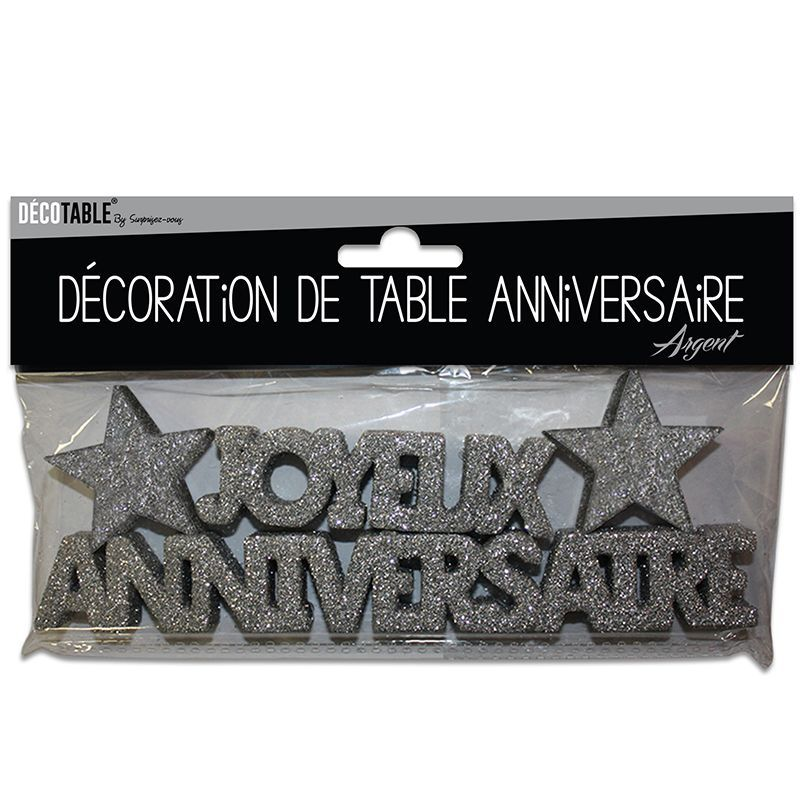 DECOR DE TABLE ANNIVERSAIRE ARGENT