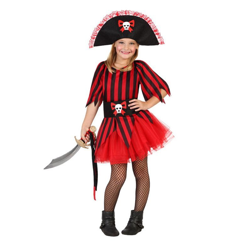 DÉGUISEMENT DE PIRATE ROUGE FILLE