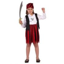 D�GUISEMENT PIRATE ROUGE ET NOIR FILLE