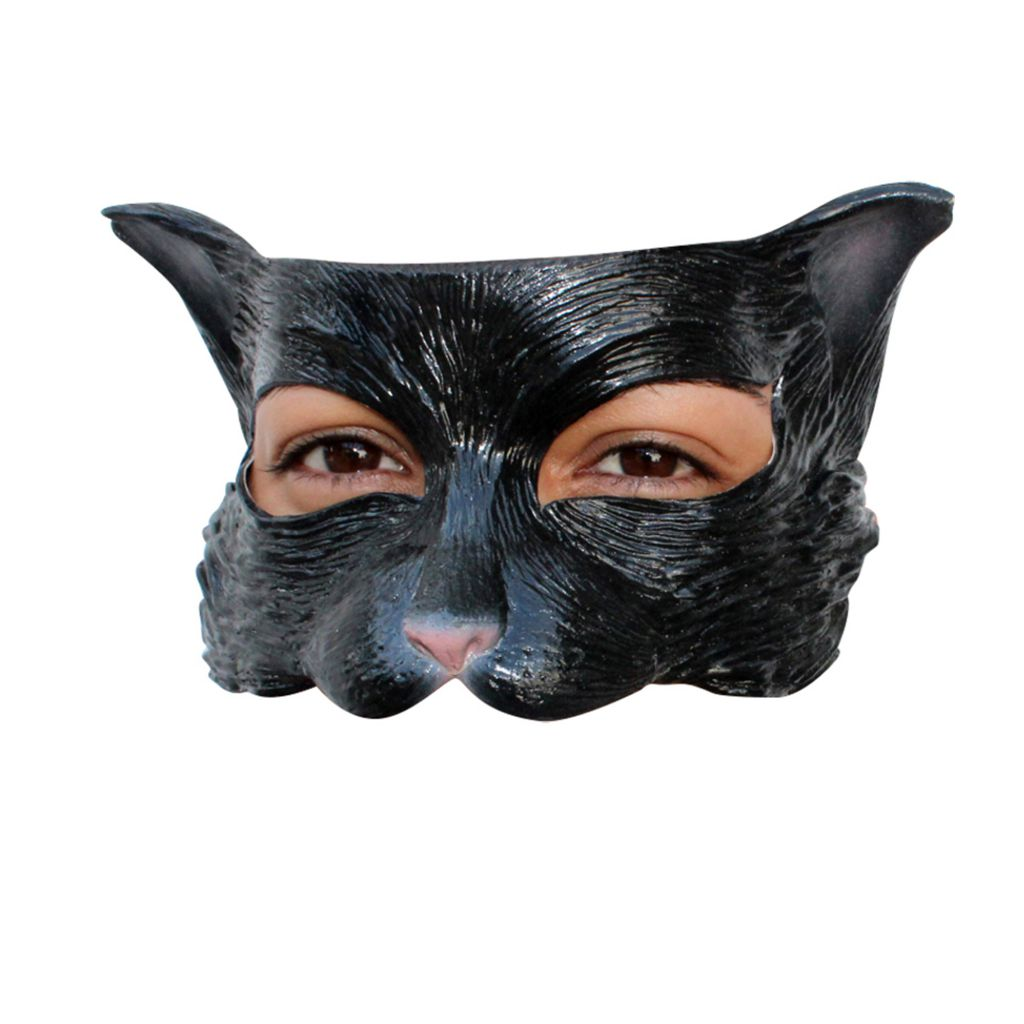 DEMI MASQUE CHATON NOIR LATEX ADULTE