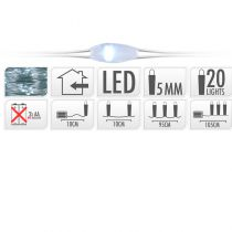 GUIRLANDE 20 LED BLANC FROID