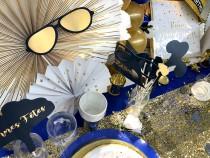 Table Anniversaire bleu et or
