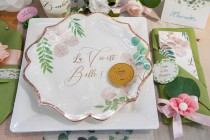 Table Mariage Rose Gold et feuillage
