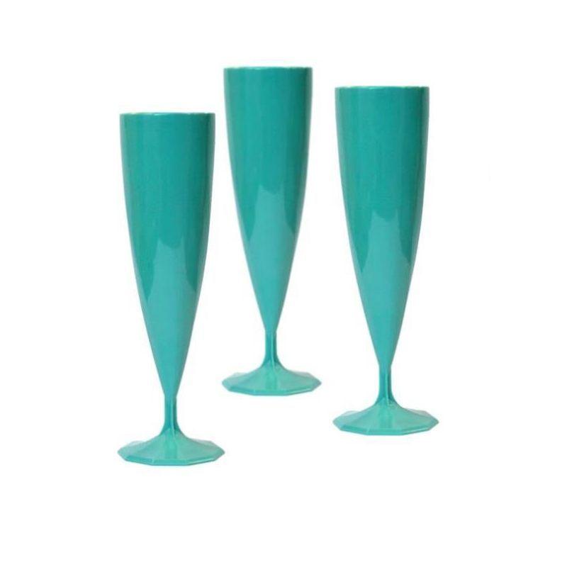 flute champagne plastique turquoise