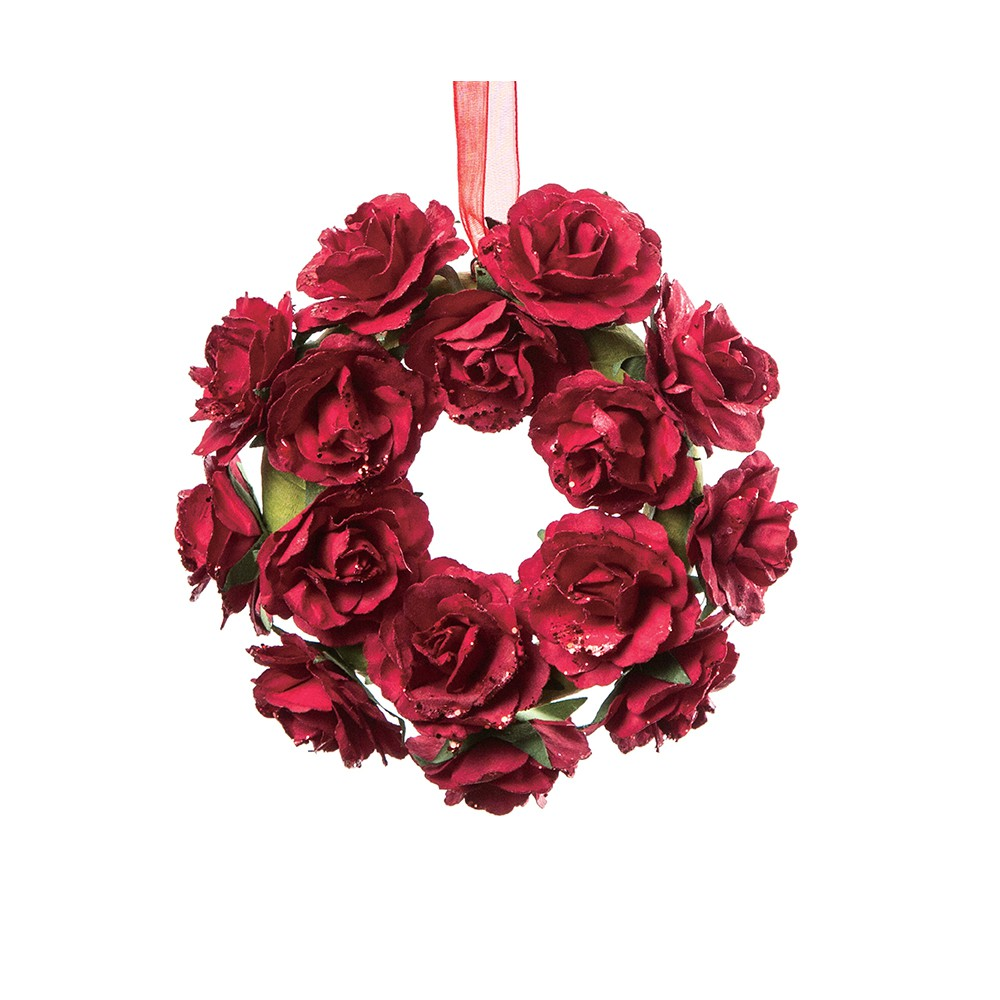 COURONNE ROSES ROUGE 12CM