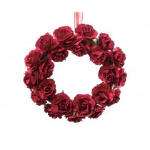 COURONNE ROSES ROUGE 16CM