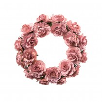 COURONNE ROSES ROSE 16CM