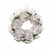 COURONNE ROSES BLANCHES 12CM