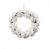 COURONNE ROSES BLANCHES 16CM