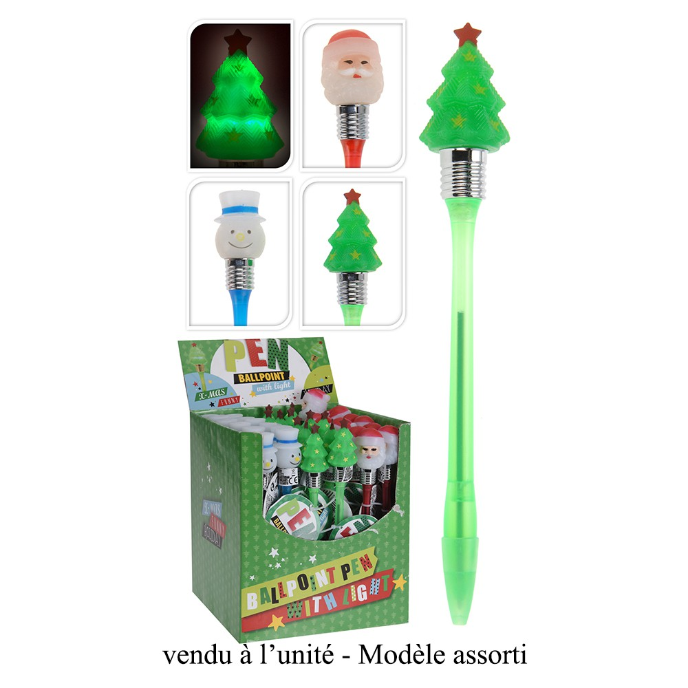 STYLO BILLE FANTAISIE FIGURINE NOËL LED 20CM