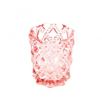 1 BOUGEOIR DIAMANT ROSE 7,5 X 8 CM