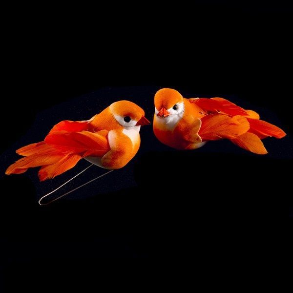 1 COUPLE D'OISEAUX 8CM - ORANGE
