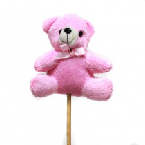 1 OURSON ROSE ASSIS EN PELUCHE SUR PIC 9 CM