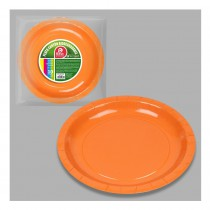 10 ASSIETTES CARTON BIODÉGRADABLES ORANGE 20CM