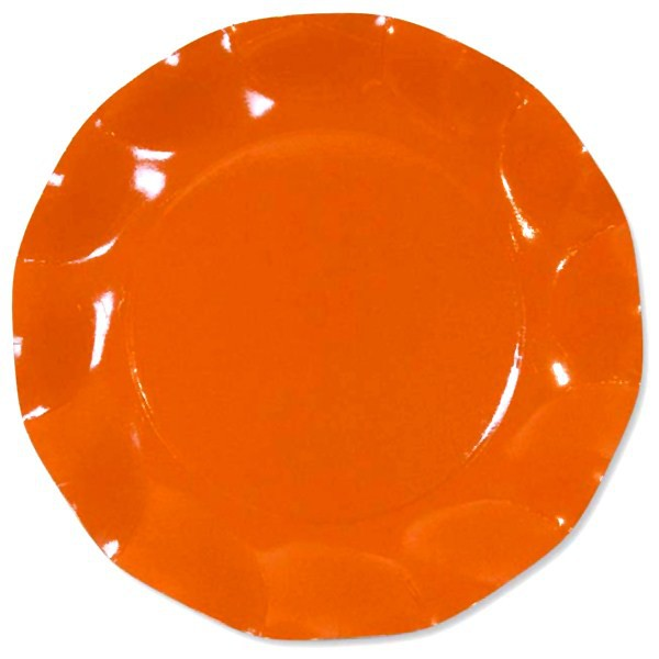 10 ASSIETTES PLATES ORANGE 27CM
