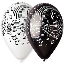 10 BALLONS NOTES NOIRS/BLANCS BIO 30 CM