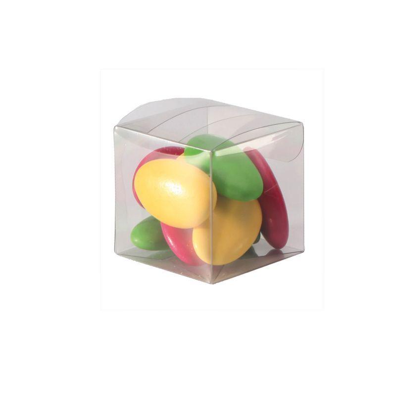 10 boites carrées à dragées en pvc
