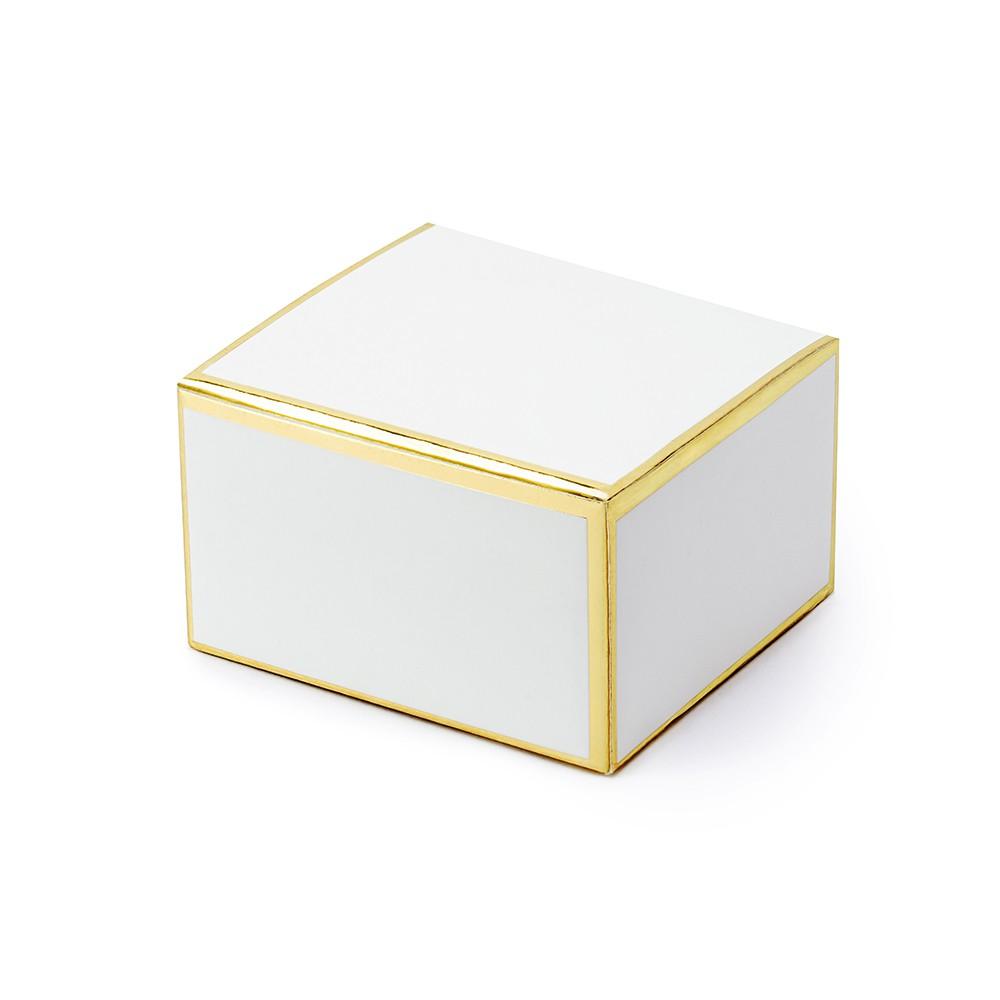10 BOÎTES CARTON BLANC BORD DORÉ 6X3.5X5.5CM