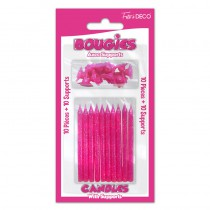 10 BOUGIES PAILLETÉES FUCHSIA + SUPPORTS