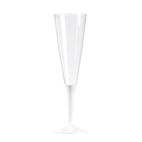 flûte à champagne plastique pied blanc
