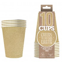10 GOBELETS XL EN CARTON 53CL - GLITTER OR