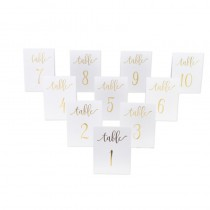 10 MARQUE-TABLES BLANC OR 1-10 15X10CM