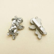 10 PINCES ANGES RESINES - ARGENT