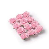 12 ROSES À PIQUER ROSE 3.5 CM