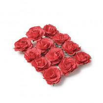 12 ROSES À PIQUER ROUGE 3.5 CM