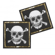 12 SERVIETTES 33X33 CM PIRATE + OR