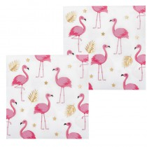 12 SERVIETTES FLAMANTS ROSES 33 x 33 CM